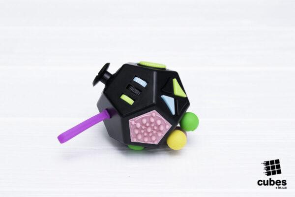 Fidget куб v2 (большой) черный 12 сторон