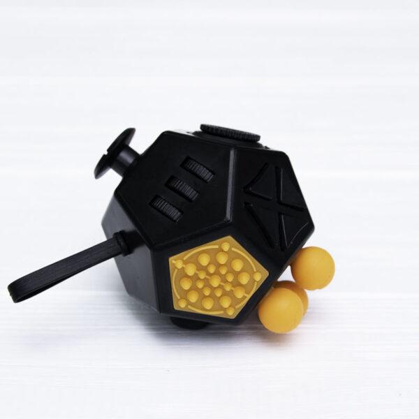 Fidget куб большой черный + оранжевый (12 сторон)