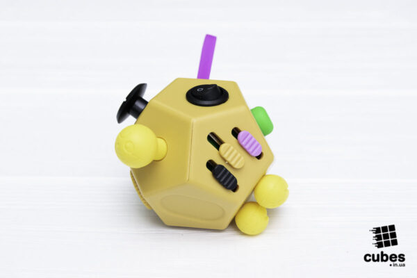 Fidget куб v2 (большой) желтый 12 сторон