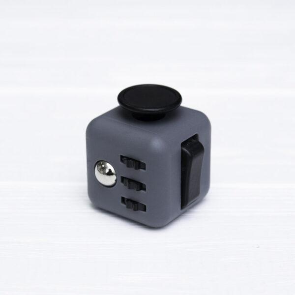Fidget куб серый + черный (soft touch пластик)