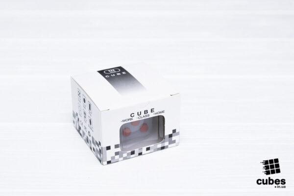 Fidget куб серый + красный (soft touch пластик)