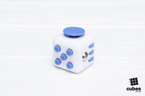 Fidget куб белый + голубой (soft touch пластик)