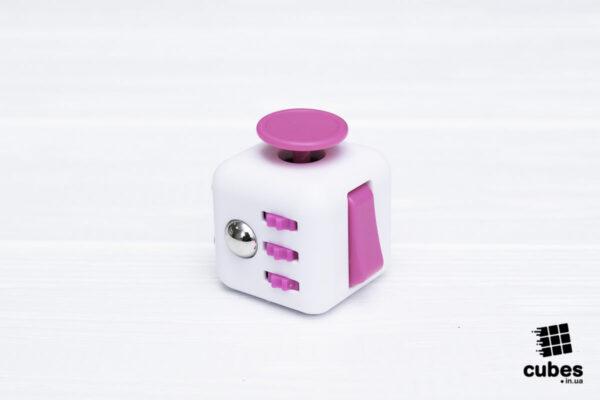Fidget куб белый + розовый (soft touch пластик)