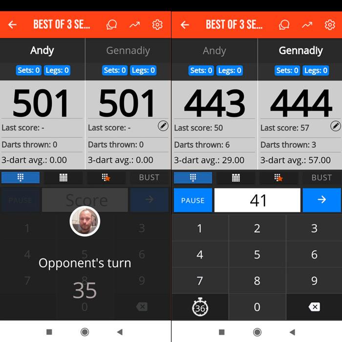 Darts Counter — интерфейс приложения во время игры.