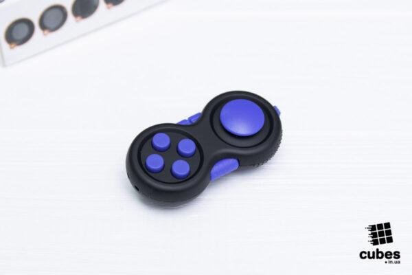 Fidget Pad (джойстик) черный + синий (soft touch пластик)