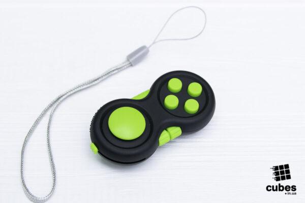 Fidget Pad (джойстик) черный + зеленый (soft touch пластик)