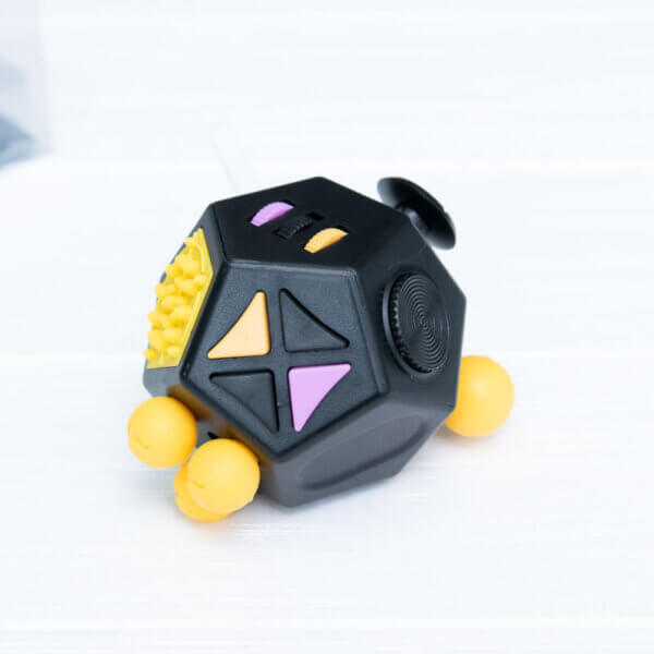 Fidget куб v2 (большой) черный + оранжевый 12 сторон