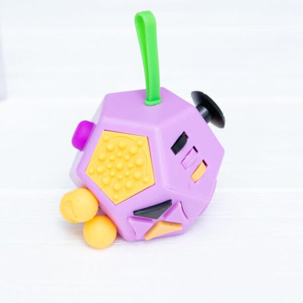 Антистресс куб большой (цвет сиреневый, 12 сторон)